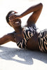 Curve Swimwear model Mukisa in Code B Zebra Print High waisted Bikini