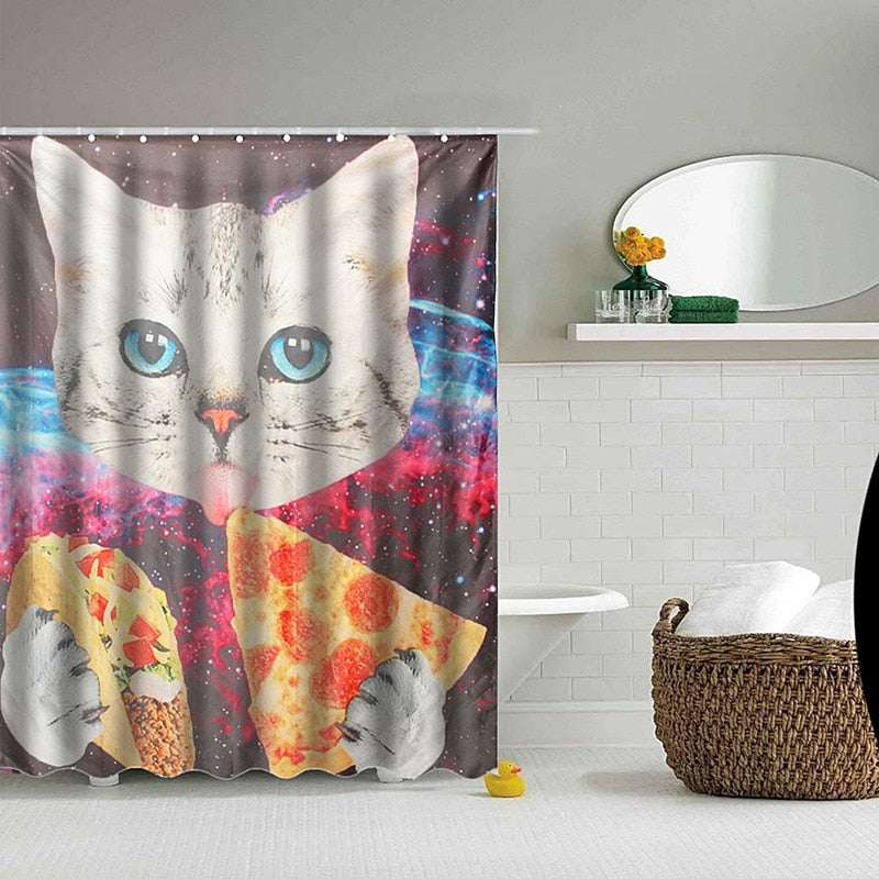 Cat, Pizza, Taco in Outer Space Shower Curtain