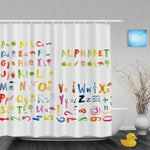 Oil Painting Style Alphabet & Numbers Shower Curtain