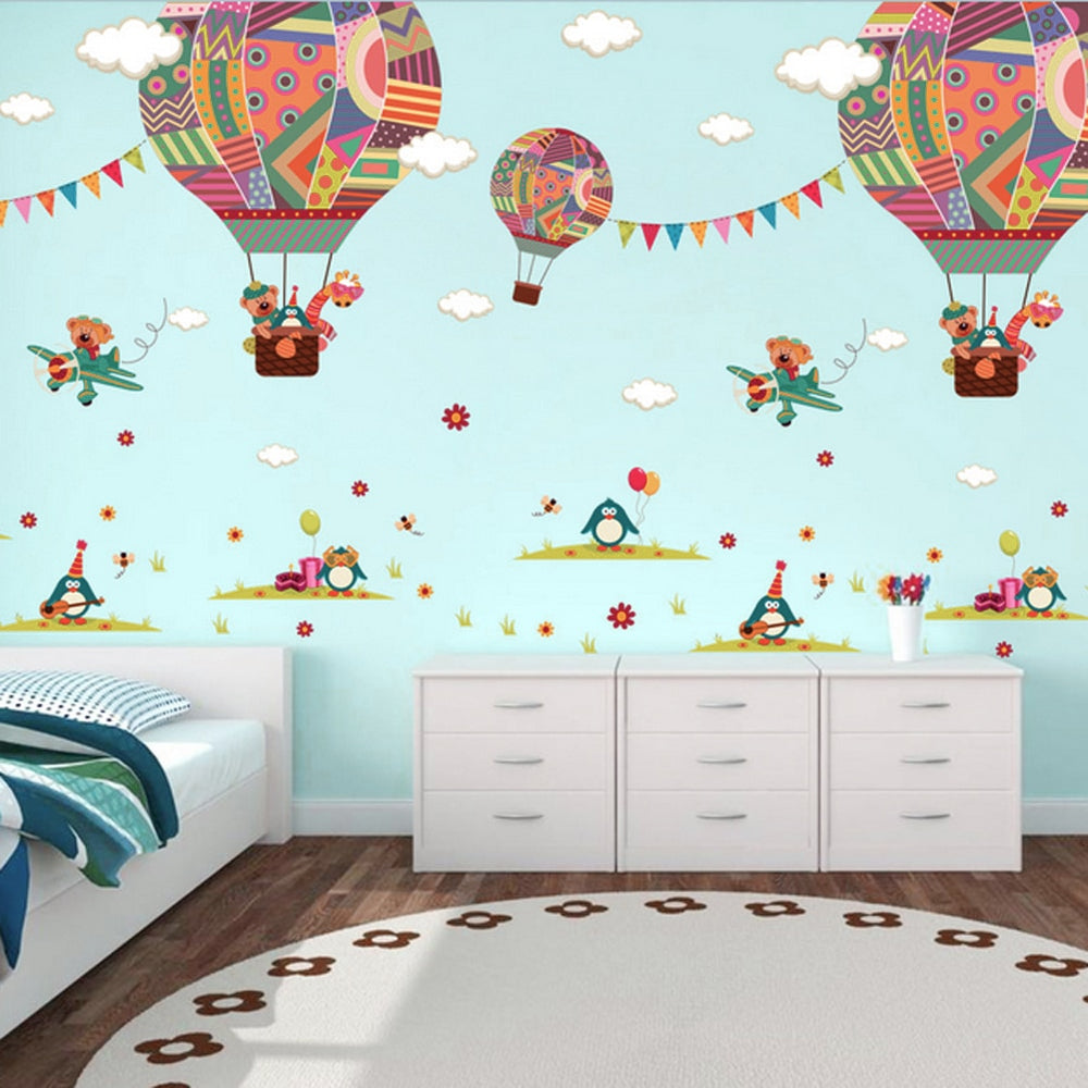 Hot Air Balloon Scene Wall Stickers