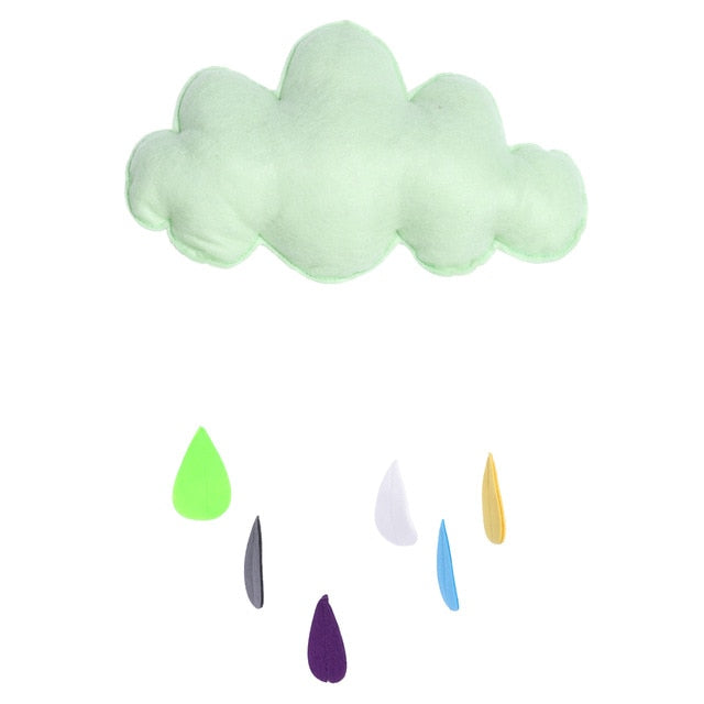 Cloud and Raindrops Fabric Wall Decal