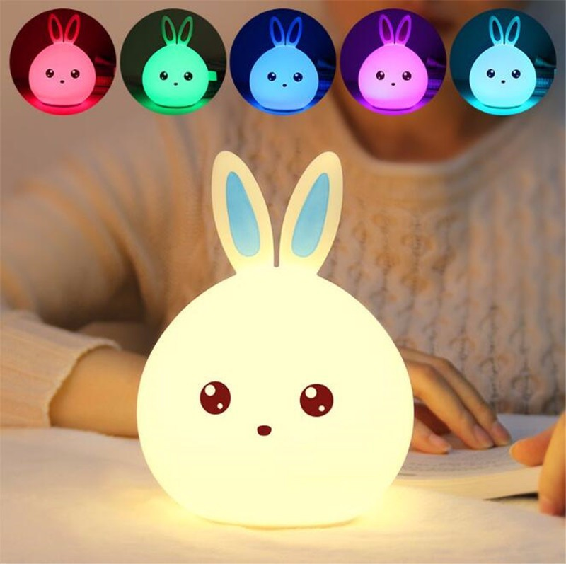 Rabbit LED Night Light for Bedside Silicone Touch Sensor Control