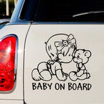 Baby on Board Cute Girl Car Sticker