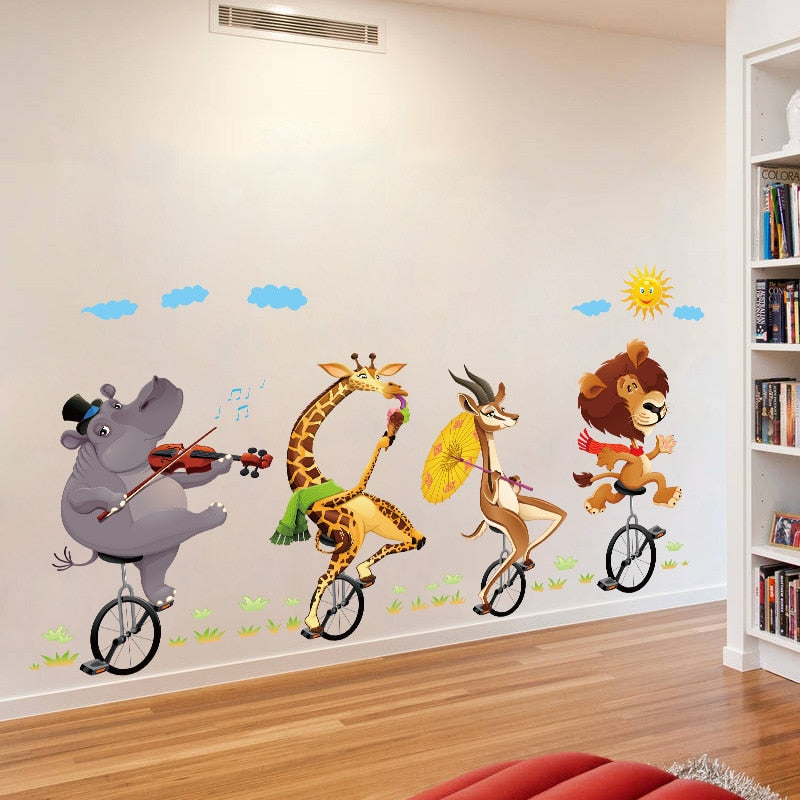 Animals Pedding on Unicycles Wall Sticker