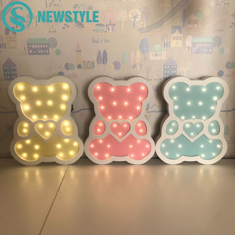 Wooden LED Night Lights (Multiple colors & characters available)