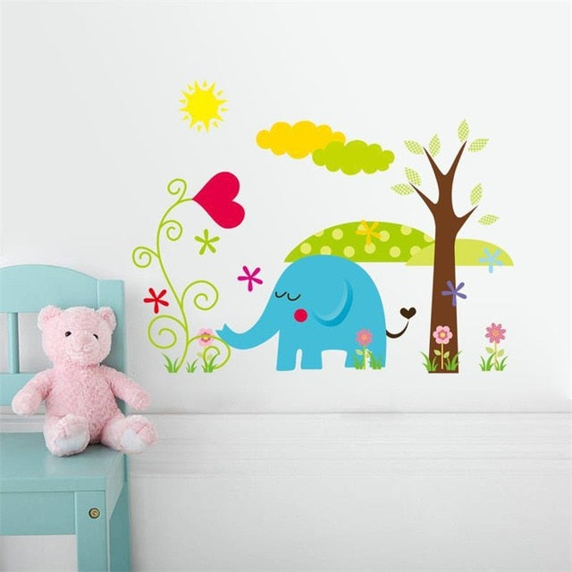 Pastel Colored Animal Wall Stickers