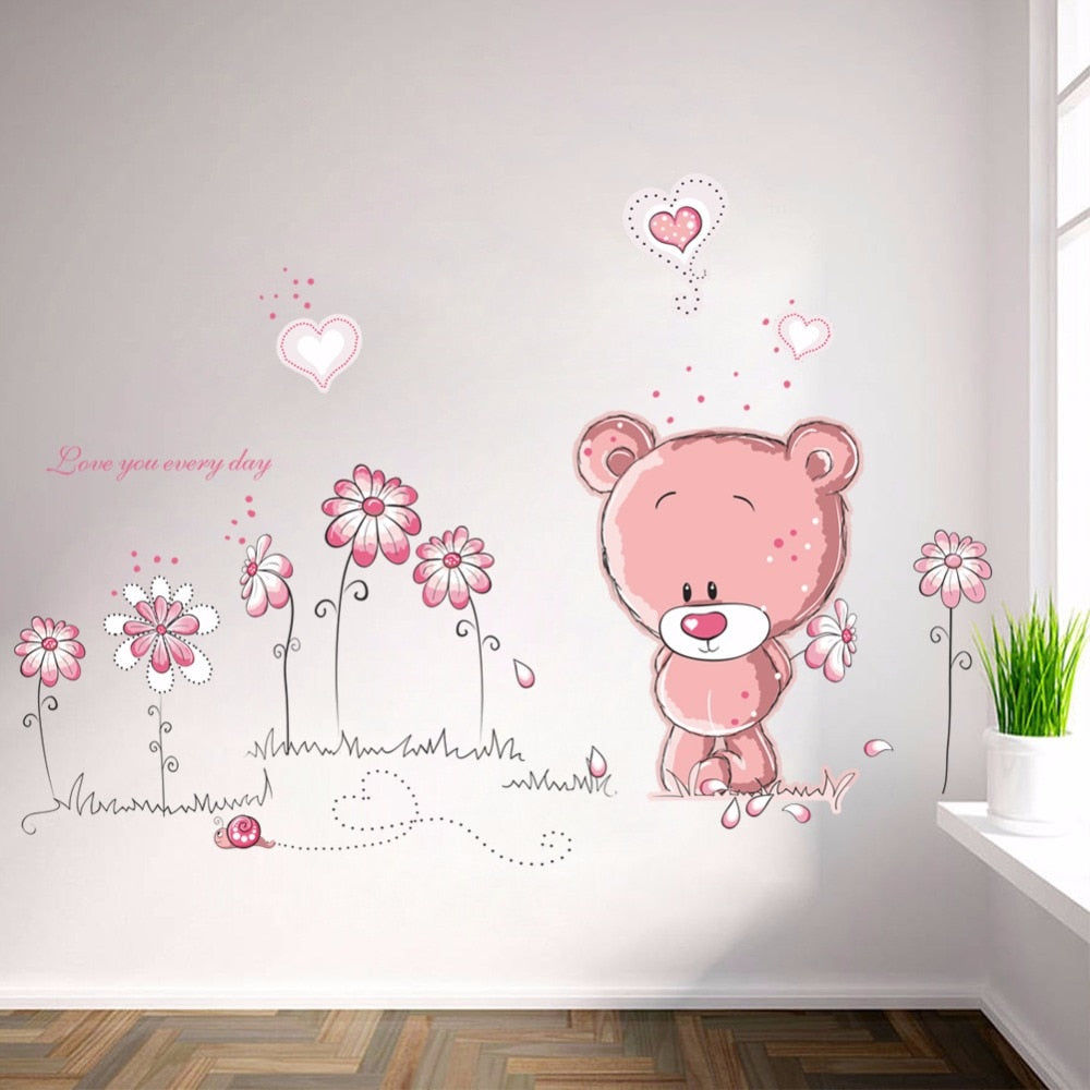 Cute Pink Bear & Flowers Wall Sticker