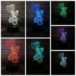 Baby Teddy Bear Love Heart Balloon USB LED Table Lamp