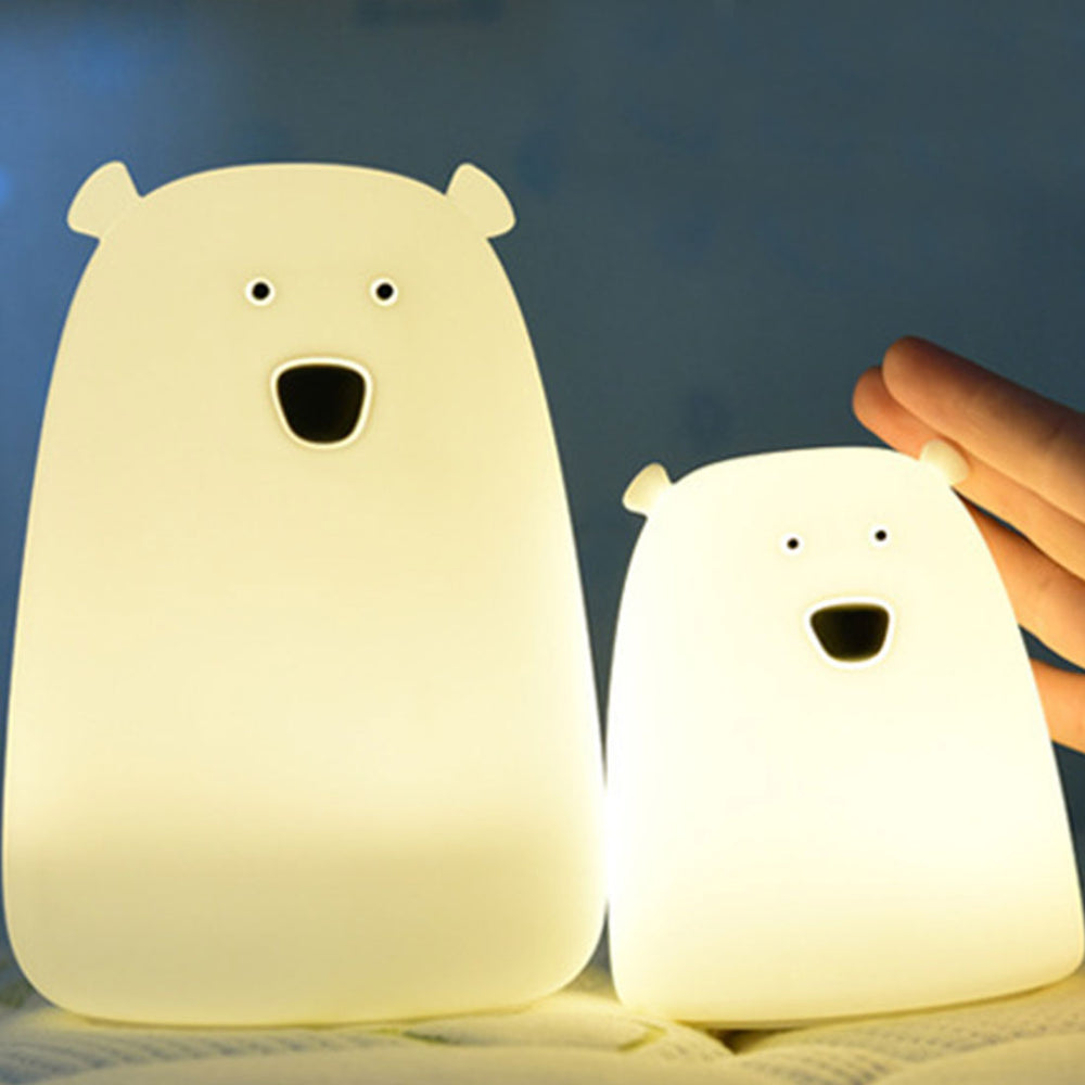 Bear Silicone LED Night Light Color Changing (Battery Operated or Rechargeable Options)