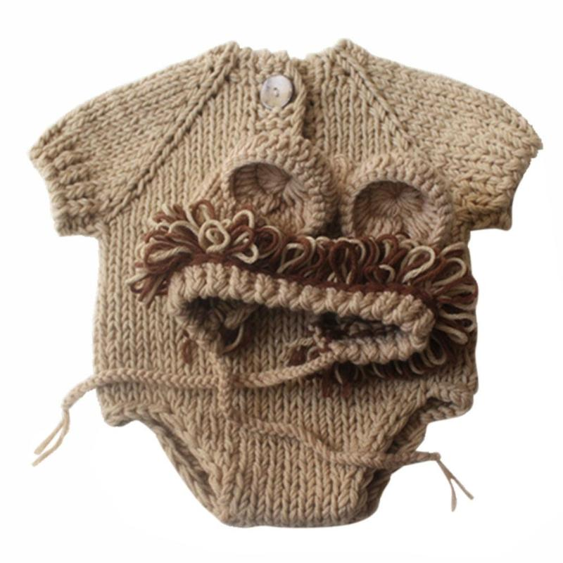 Baby Lion Hand Knit Sweater with Hat