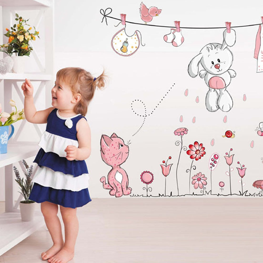 Cat, Rabbit, & Flowers Wall Sticker