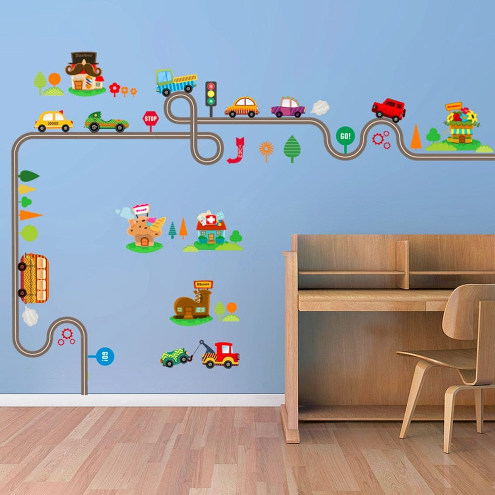 Vehicles on the Road Wall Stickers