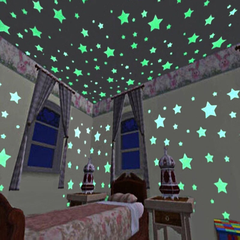 Glow in the Dark Luminous Fluorescent Star Wall Stickers (100 pieces)