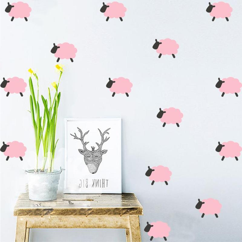 Pink Sheep Wall Stickers (9 pieces)