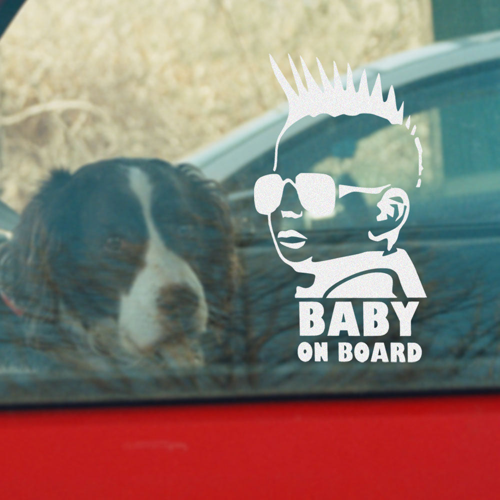 Baby on Board Baby Mohawk Car Sticker