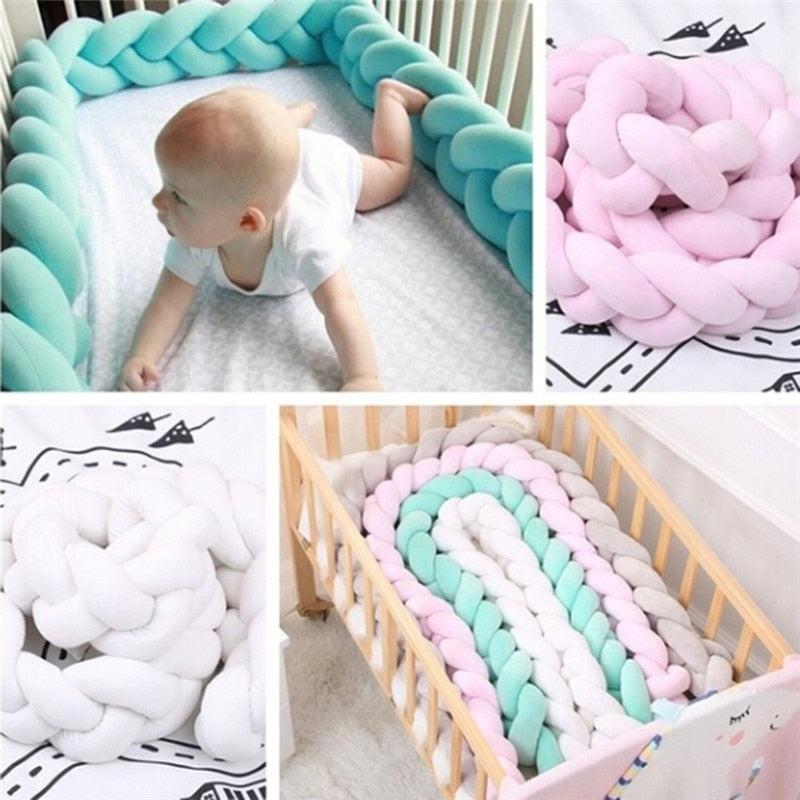 Colorful Soft Knot Pillow Braided Crib Bumper