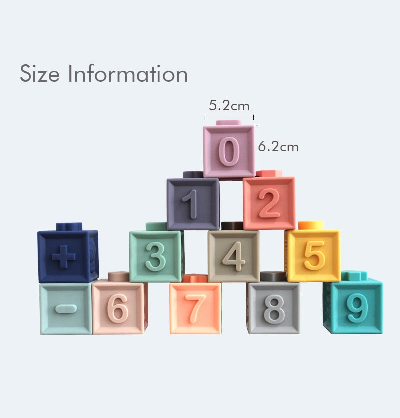 Baby Grasp Toy Silicone Building Blocks: Numbers, Animals, Shapes, Textures All in One