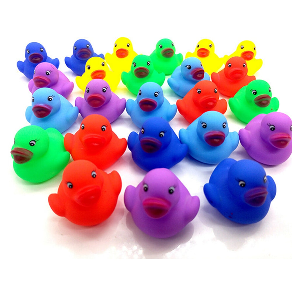 Cute Mini Colorful Rubber Float Squeaky Sound Duck (12 pieces per set)