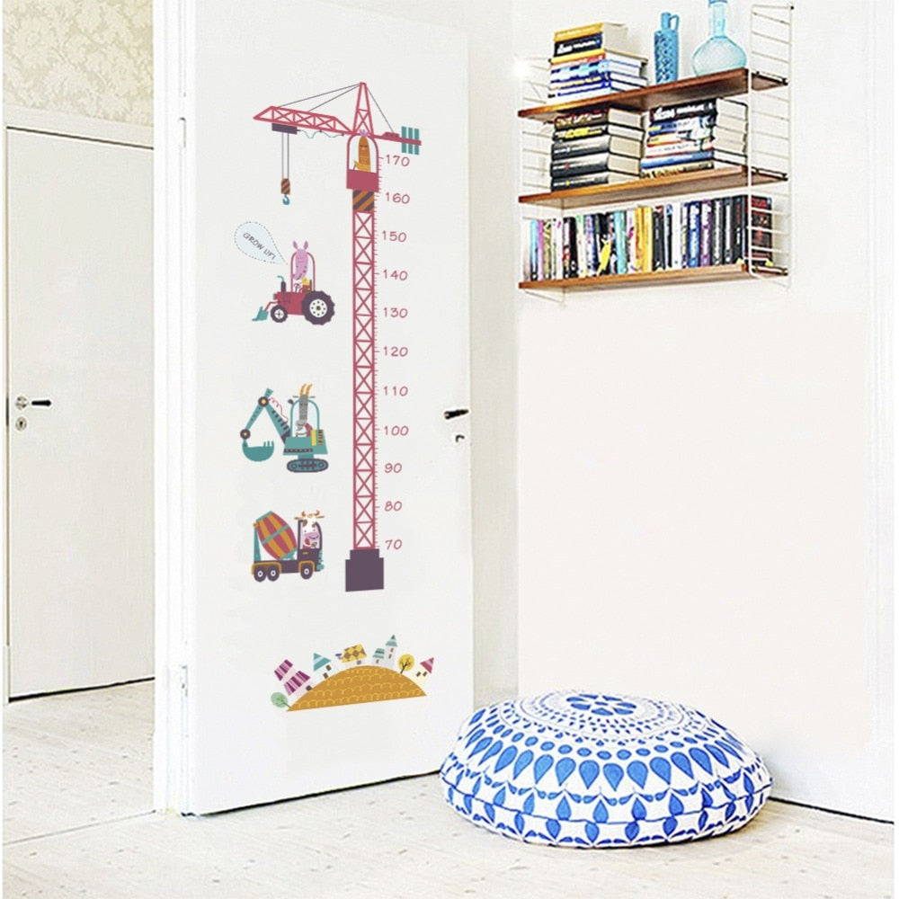 Animals on Construction Vehicles Wall Growth Chart