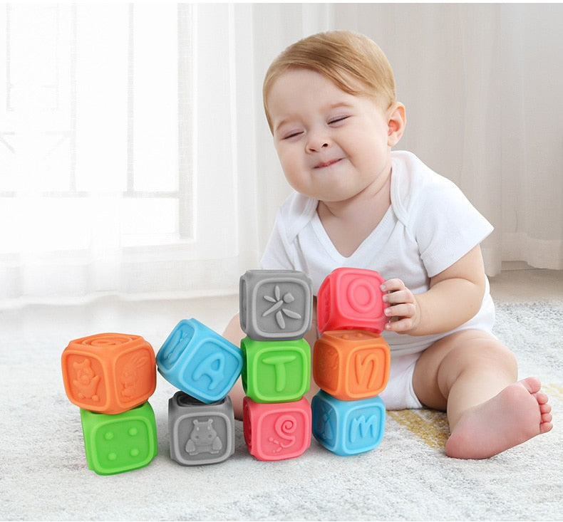 Toy Building Blocks & Bath Time Toys: Rubber Teethers (10 piece set)