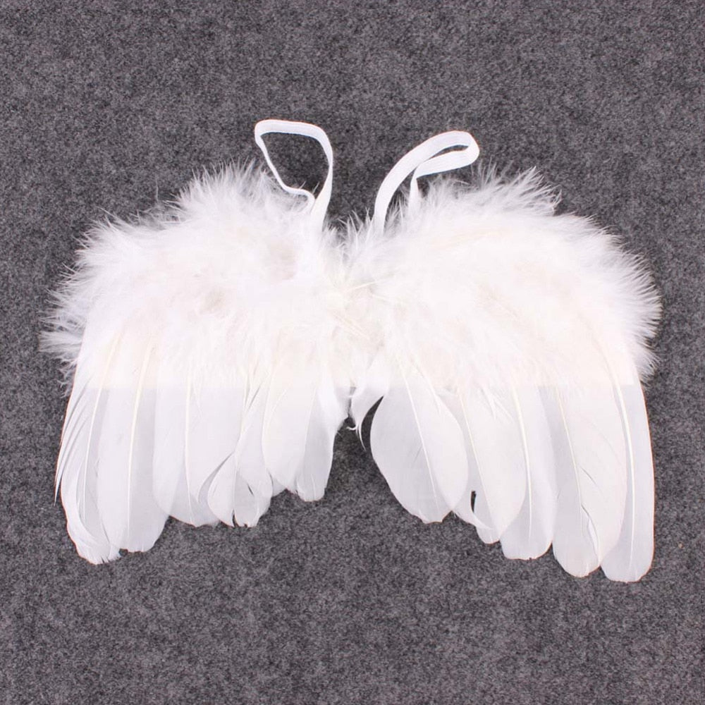 Newborn White Angel Wings & Halo (2 pieces)