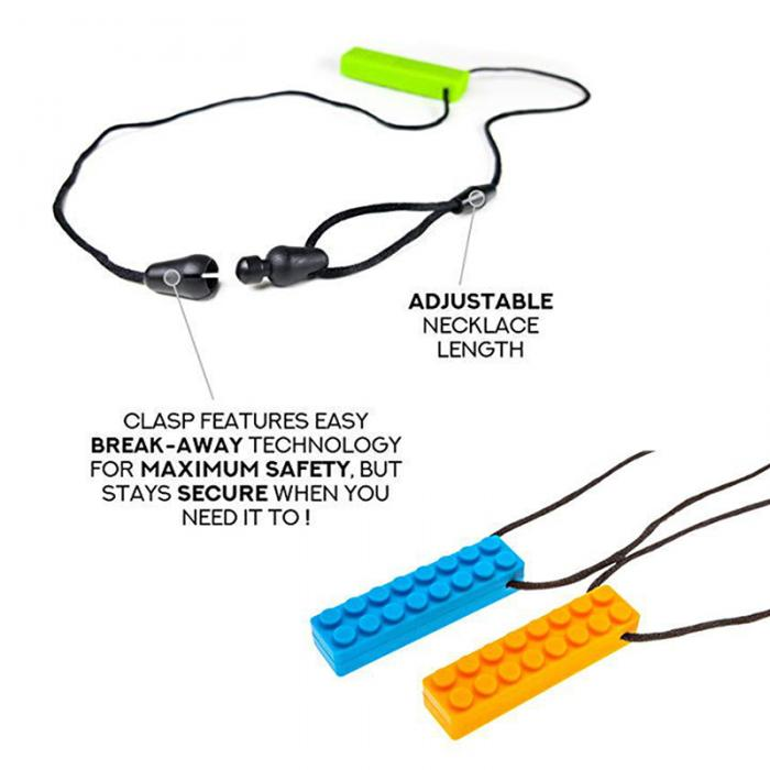 Silicone Brick Sensory Chew Necklace (6 colors available)