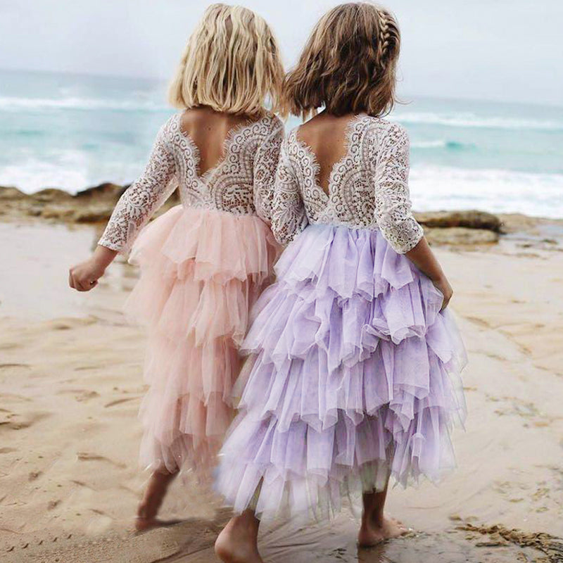 Gorgeous Girls Summer Dancing Frocks Lace Tutu Layered Dresses