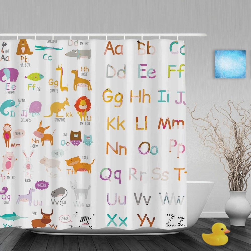 Alphabet Animals Shower Curtain
