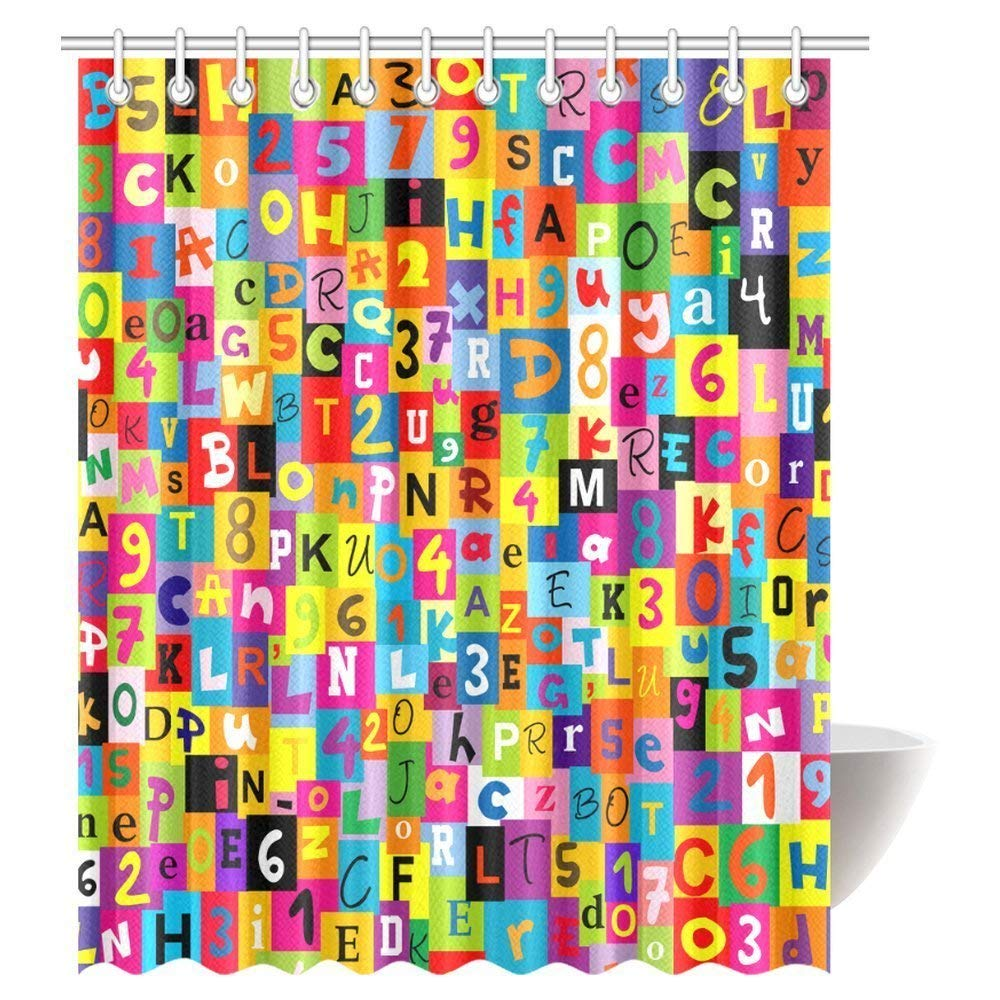 Bright and Colorful Letters & Numbers Shower Curtain