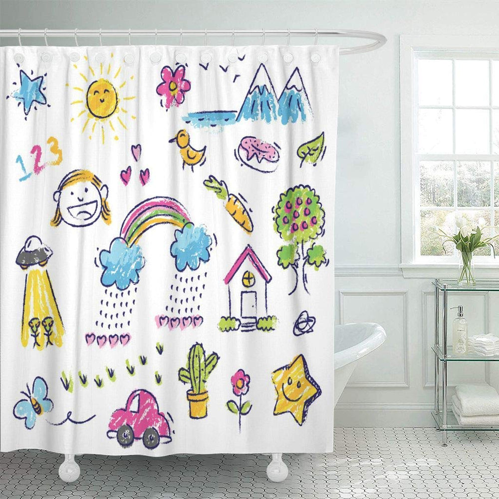 Colorful Crayon Kid Drawings Shower Curtain