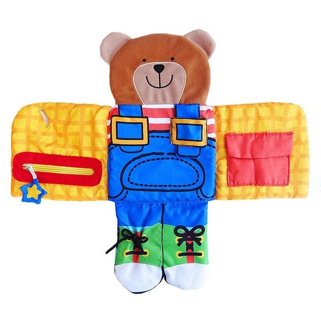 Bear Wear Cloth Button Zipper Soft Cloth Baby Learning Book