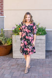 IN STOCK Taylor Dress - Black and Blush Floral