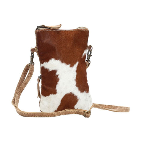 White and Brown narrow crossbody bag