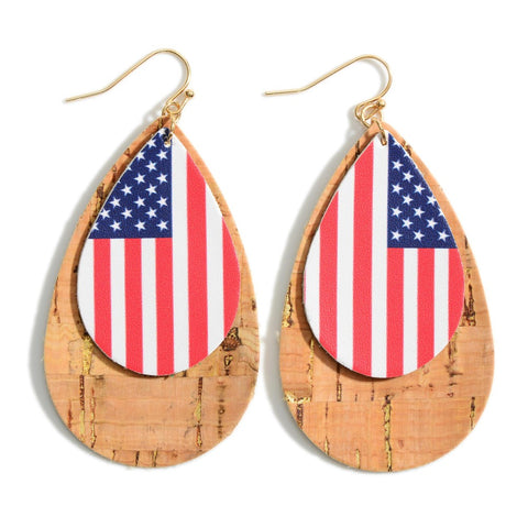 America In Cork and Leather Earrings