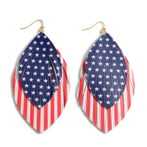 Red white and Blue Feathered Earring
