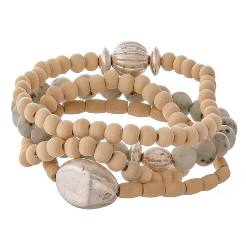 Silver and natural bead stack