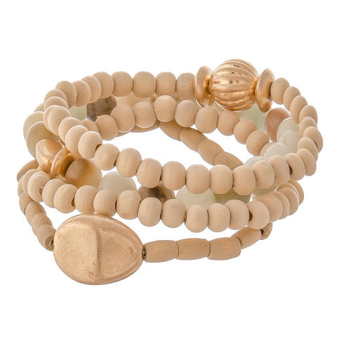Wood bead and natural stone stack