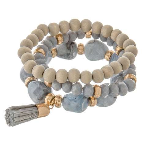 Stone and glass bead stack grey