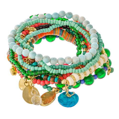Boho multi color jingle bracelet stack