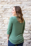 Henley Button Tie Top - Sage