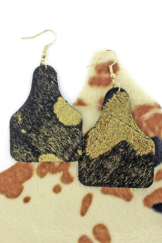 Glitzy Angus Cattle Tag Earrings