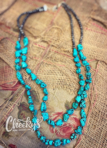 Double turquoise stone and Navajo bead necklace