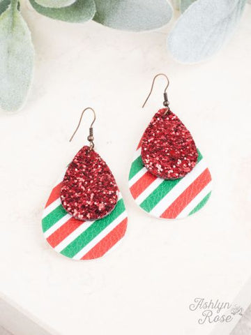 Red Green Stripe Faux leather and glitter earrings