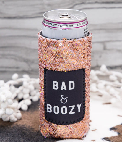 Bad and Boozy Slim Can Koozie with Sequins