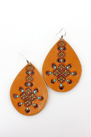 Brown and Turquoise Tangier Teardrop Earrings