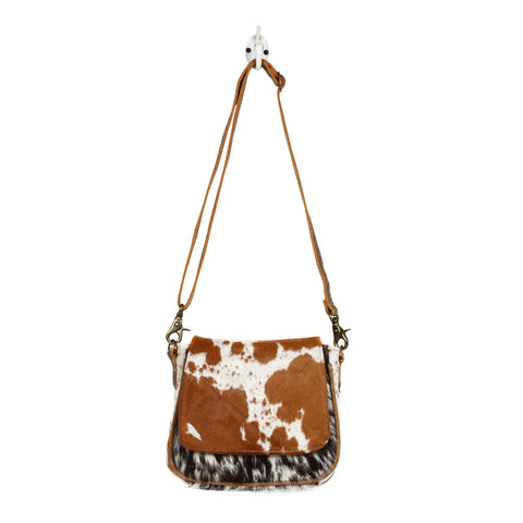 Flap over hairon crossbody bag
