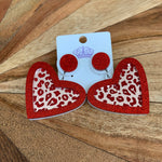 Acrylic leopard heart earrings- red
