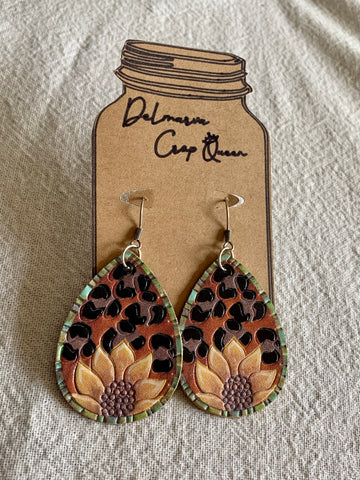 Leather Sunflower and Leopard Earrings