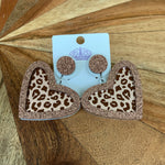 Acrylic leopard heart earrings - rose gold