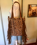 Leopard tote with fringe